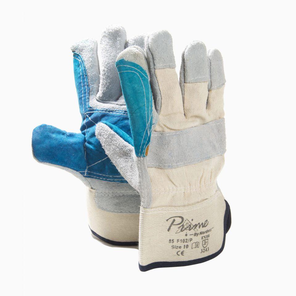 ΓΑΝΤΙΑ 13-202010902 Γάντια με πράσινη ενίσχυση, δερματοπάνινα.