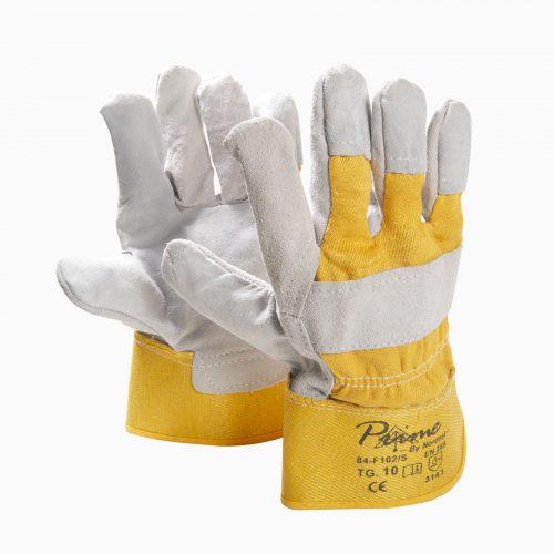 ΓAΝΤΙA 13-202012004 Γάντια δερματοπάνινα καφέ.