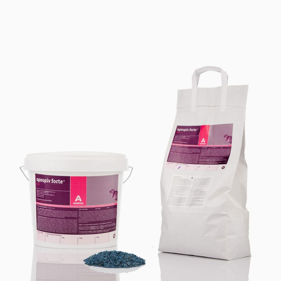 AROURIN-FORTE-BAIT-FAMILY Τρωκτικοκτόνο δόλωμα σε σιτάρι . Ισχυρό αντιπηκτικό μιας λήψης για γεωργική και οικιακή χρήση με Bromadiolone 0,005%