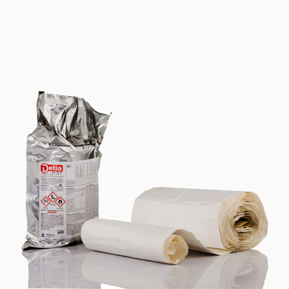 DETIA-GAS-EX-B-1700 Σκεύασμα φωσφίνης κατάλληλο για χρήση σε σακιασμένα υλικά όπως σιτηρά, ρύζι, ζωοτροφές, σπόρους. Ενδείκνυται για εφαρμογή σε καφέ, κακάο, τσάι, ξηρούς καρπούς, άλευρα, μπαχαρικά, σοκολάτα, γλυκίσματα, ξυλεία.