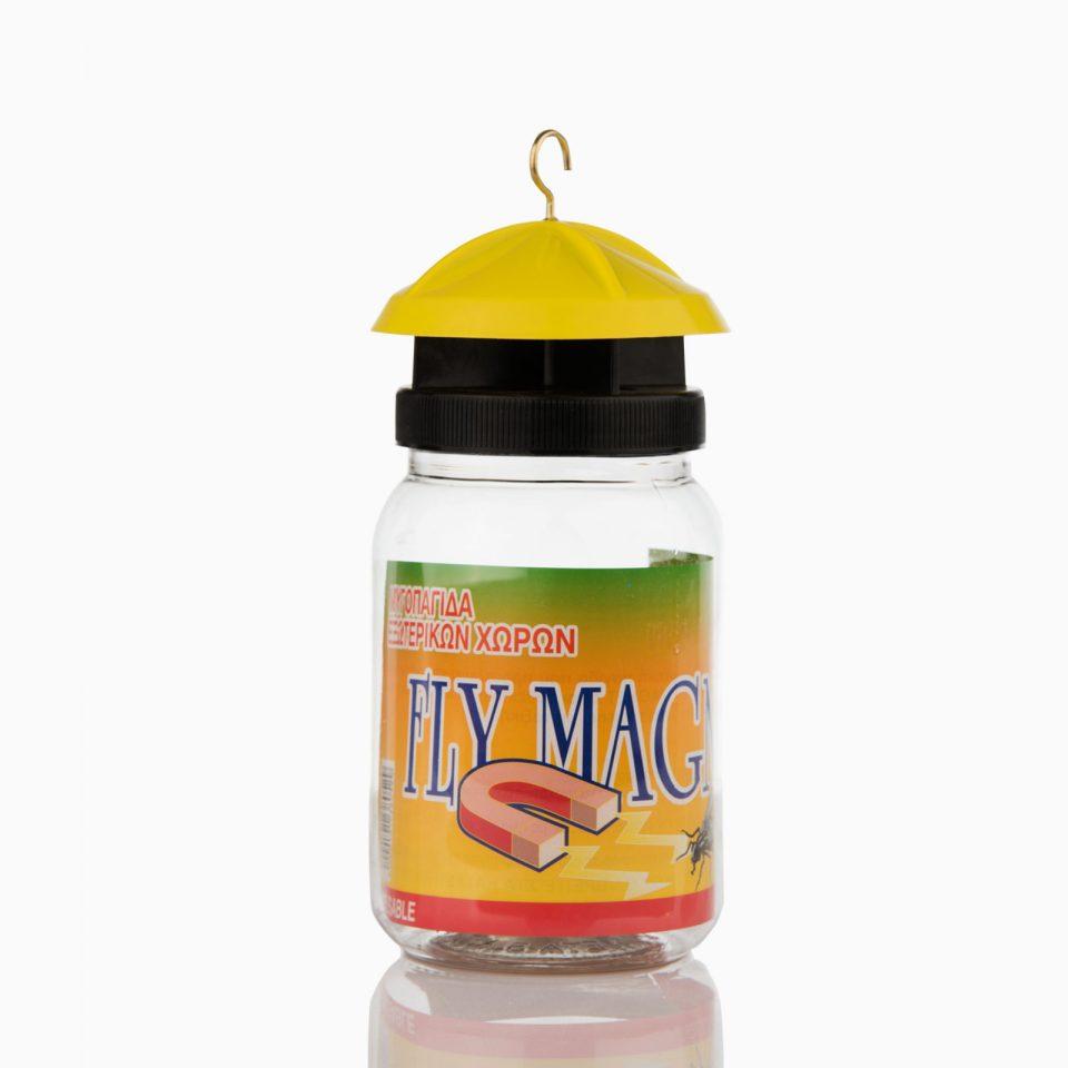 FLY MAGNET Μυγοπαγίδα με δόλωμα. Πλήρης παγίδα για μύγες με δόλωμα-τροφή που κρεμιέται σε εξωτερικό χώρο. Χωρίς δηλητήριο για πολλές χρήσεις.