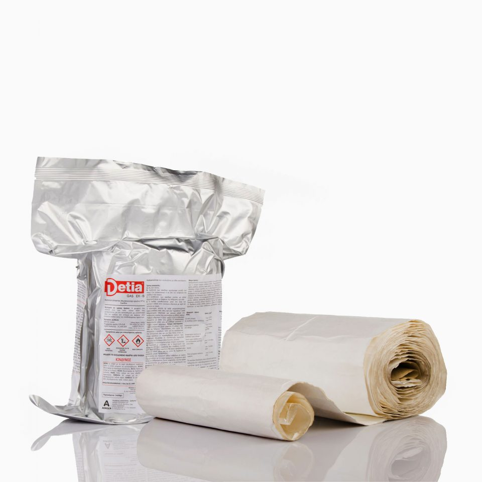 GAS-EX-B-3400 Σκεύασμα κατάλληλο για χρήση σε σακιασμένα υλικά όπως σιτηρά, ρύζι, ζωοτροφές, σπόρους. Ενδείκνυται για εφαρμογή σε καφέ, κακάο, τσάι, ξηρούς καρπούς, άλευρα, μπαχαρικά, σοκολάτα, γλυκίσματα, ξυλεία. κουβέρτα