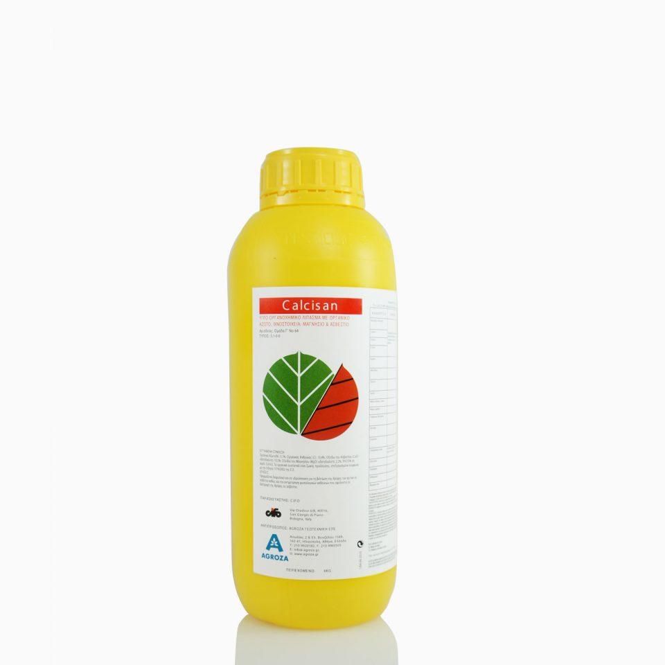 CALCISAN-1 Υγρό οργανοχημικό λίπασμα με οργανικό άζωτο & ιχνοστοιχεία. Εφαρμόζεται διαφυλλικά και σε υδρολίπανση για τη βελτίωση της θρέψης των φυτών σε ασβέστιο. 1 λίτρο