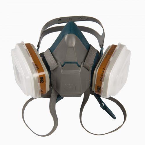 3M-6502 Μάσκα μισού προσώπου σιλικόνης, μόνιμη. Δέχεται 2 φίλτρα, 2 προφίλτρα και 2 καλύμματα προφίλτρων.