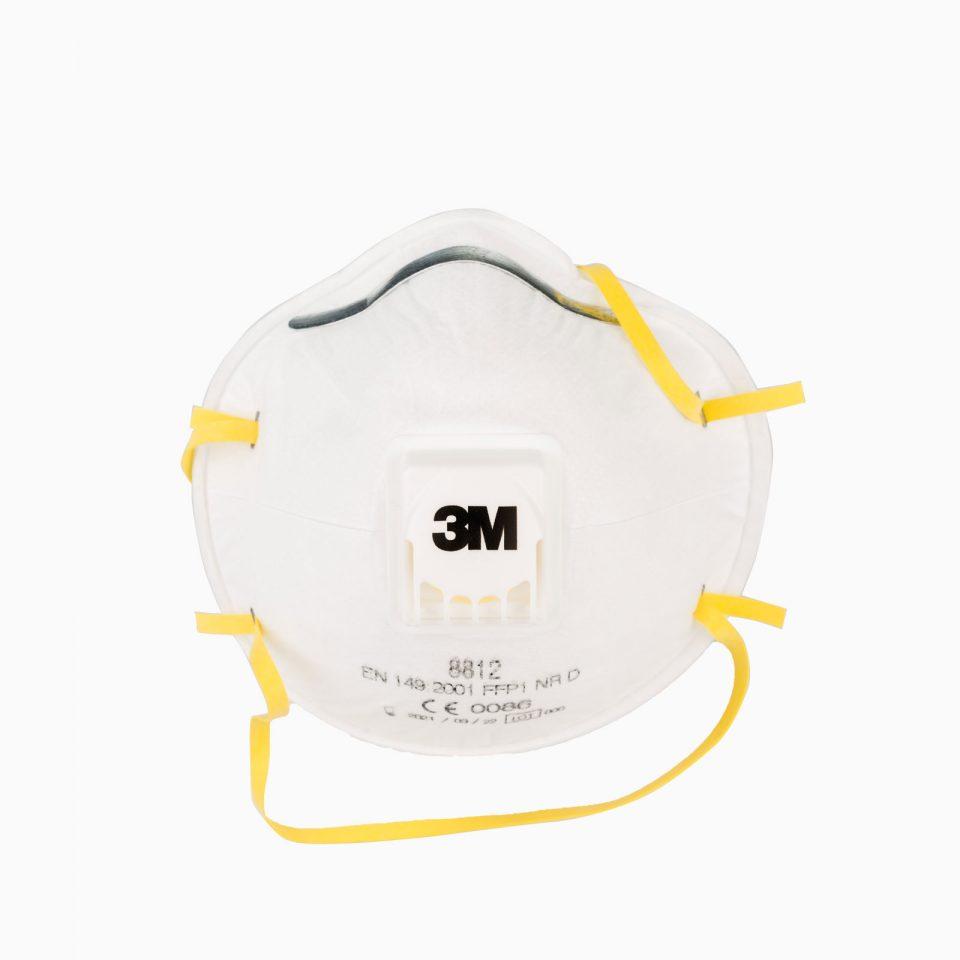 3M-8812 Η μάσκα προστασίας με βαλβίδα, μιας χρήσης 3M 8812 είναι ελαφριά, άνετη και αποτελεσματική με βαθμό προστασίας FFP1 από σκόνη και σταγονίδια.