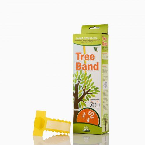 TREE-BAND Πλαστικό δεματικό που δένεται γύρω από τους κορμούς των δέντρων και αποτρέπει την αναρρίχηση των εντόμων από το έδαφος προς τα επάνω.